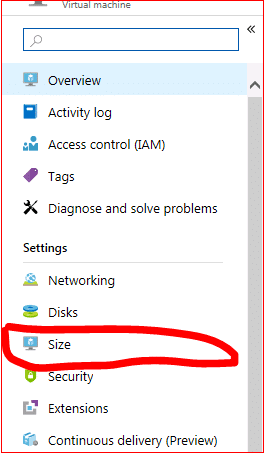 Azure Web Portal Virtual Machine Size Page